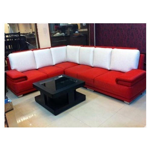Wood Red And White 6 Seater Sofa Set