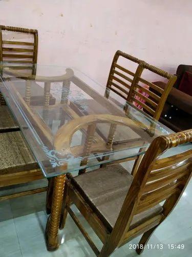 Natural Polish Teak Wood Dining Table Rs 24000 Set Avon