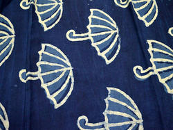 Umbrella Sewing Indigo Cotton Hand Stamped Fabric