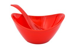 Mehul Microwave Safe Soup Bowl with Spoon Set - Red