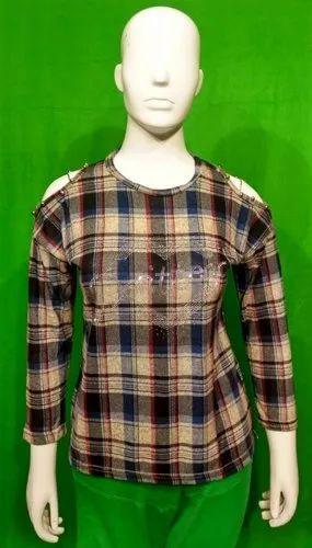 115aca2daf4c7 Round Neck Full Sleeve Girls Checkered Cut Shoulder Top