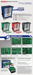 282PCS Mechanical Tool Set W/7-Drawer Tool Trolley