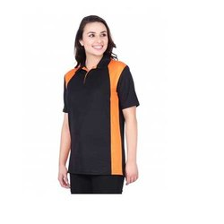 UB-D-Tee-08 Black & Orange Designer Polo T-Shirt For Female