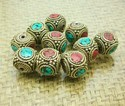 Turquoise Red Coral Gemstone Inlay Tibetan Beads For Jewelry