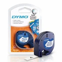DYMO 12mm LetraTag Labeling Tape for Label Makers, Black Print on White Plastic Tape