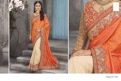 Cream Orange Saree
