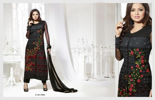 bb36c8f0254 Party Wear Black Embroidered Net Straight Suit