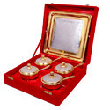 Silver Gold Plated Brass Mouth Freshener Set 9 Pieces