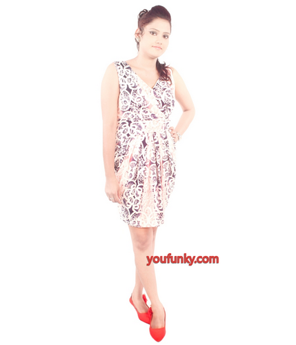 Plain L-38 Printed Party Wear Dress