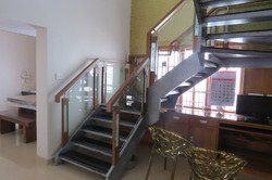 MS Staircase With Wooden Glass Railing