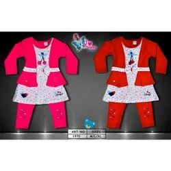 Cotton Casual Wear Baby Designer Frock Set