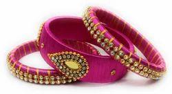 pink Handmad Silk Thread Bangle Set