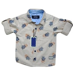 Kids White Printed Shirt