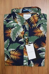 Linen Collar Neck Flower and Denim Mens Original Shirts