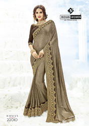 Indian Women Coffee Two Tone Lycra Sarees