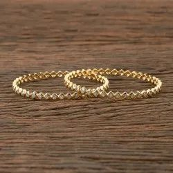 White Gold Plated CZ Classic Bollywood Bangles 405979