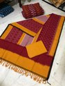 Multicolor Regular Wear Double Ikkat Pure Cotton Dress Material