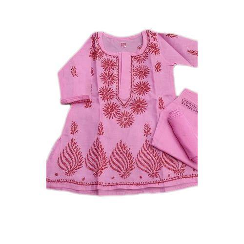 706996c284aa Pink Cotton Kids Girls Chikankari Suit, Rs 450 /piece, Fancy Chikan ...