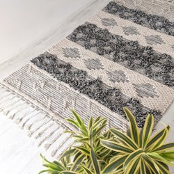 Grey Handwoven Mats Area Boho Carpet Moroccan Designer Floor Runners Mat