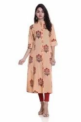 Cotton Floral Printed Kurti, Size - S to 2XL
