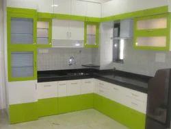 L Shape Wooden Modular Kitchen, Warranty: 1-5 Years, Uttar Pradesh