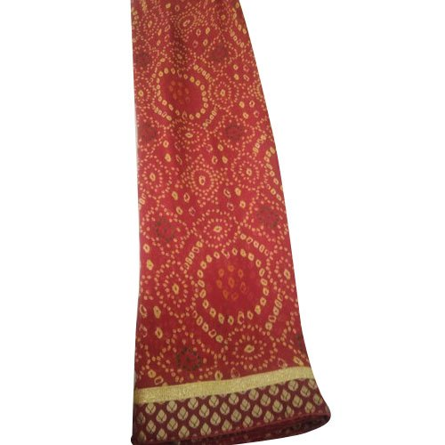 Base Red Cotton Designer Jaipuri Saree, 6.3 m (with blouse piece), Packet