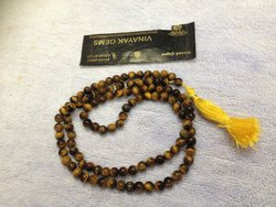 Natural Tiger Eye Gemstone Smooth Round Rosary Beads, Genuine Prayer Jap Mala 108 1
