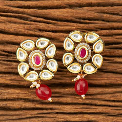 Brass & Copper And Green And Ruby Kundan Drop Earrings With Gold Plating 41376