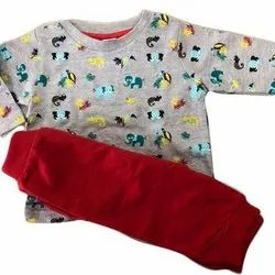 Cotton Printed Kids Full Sleeve T Shirt And Trouser