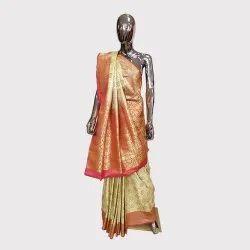 Off White Brocked Banarasi Silk Saree