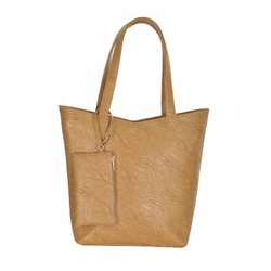 Azzra Beige Shoulder and Tote Handbag With Mobile Pouch