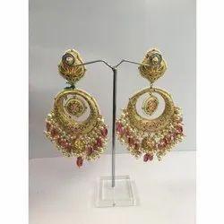 22 Carat Gold Natural Uncut Diamond Polki Chandbali Earrings