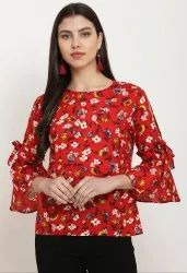 Printed Rayon Round Neck Ruffle Ladies Top