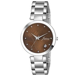 Jainx Brown Dial Date Functioning Analog Watch For Women JW649
