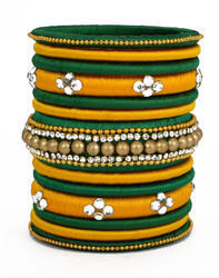 Green and Yellow Silk Thread Bangle