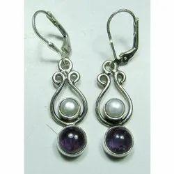 Amethyst with Pearl 925 Sterling Silver Earrings