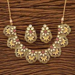 Kundan Classic Gold Plated Necklace Set 300147