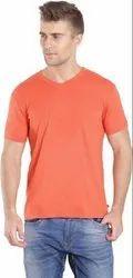 Orange Cotton Plain V Neck T Shirt