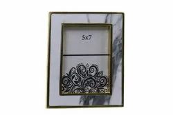 Metal Golden Marble photo frame, For Decoration, Size: 5x7