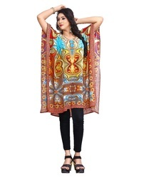 Half Sleeves Short 3D Digital Printed Georgette Casual Kaftan Kurta