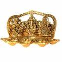 White Metal Golden Laxmi Ganesha Saraswati Five Deepak