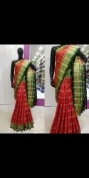 Festive Wear Red and Green Kanchpatti Ikkat Silk Saree with Blouse Piece