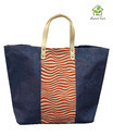 Jute Beach Bag With Wave Print
