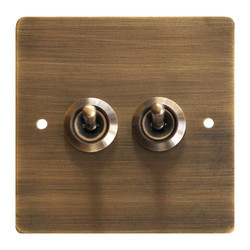 Antique Style Dual Flush Switch Metal Plate