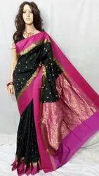 Banarasi Semi Silk Shiny Gorod Sarees, 6.3 m With Blouse Piece