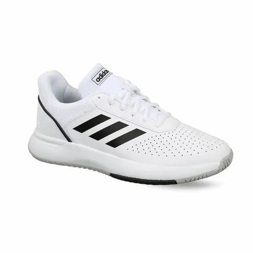 74bf88a44758 White And Black Lace Up MEN  S ADIDAS TENNIS COURTSMASH SHOES