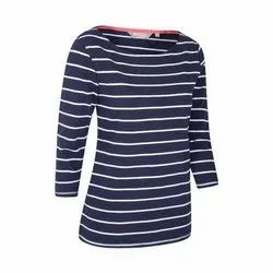 Round Neck Full Sleeve Ladies Cotton Casual Long Top, Packaging Type: Packet, Size: Small to XXl