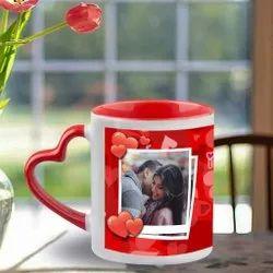 Customised Photo Mug 3 Tone Heart Handle