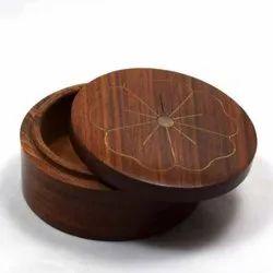 Round Wooden Box With Brass Designing