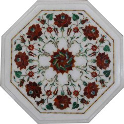 White Marble Inlay Dining Table Top